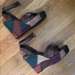 NWOT Coach Patchwork Wedge Sandals